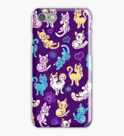 Colourful Kitty cat pattern iPhone Case/Skin