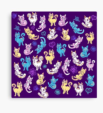 Colourful Kitty cat pattern Canvas Print