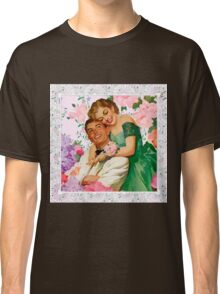 Darling i love you. 1950 era happy and loving couple on floral background, reproduction Classic T-Shirt