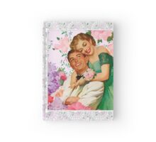 Darling i love you. 1950 era happy and loving couple on floral background, reproduction Hardcover Journal