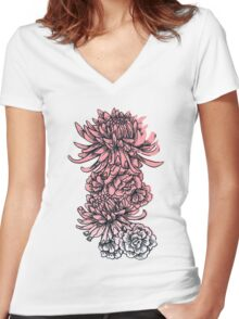 Chrysanthemums and Peonies Women's Fitted V-Neck T-Shirt
