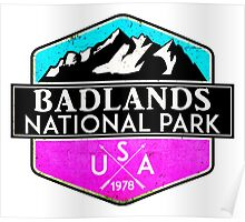 BADLANDS NATIONAL PARK SOUTH DAKOTA MOUNTAINS HIKING CAMPING HIKE CAMP PINK Poster