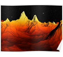 Sci Fi Mountains Landscape Poster