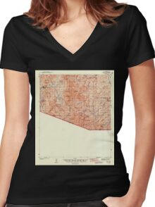 USGS TOPO Map Arizona AZ Ruby 704270 1942 62500 Women's Fitted V-Neck T-Shirt