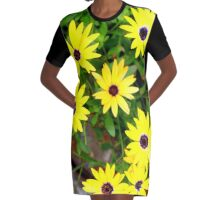Yellow Bursts! Graphic T-Shirt Dress