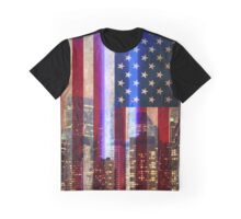 Manhattan skyline, World Trade Center Light Memorial, American flag Graphic T-Shirt
