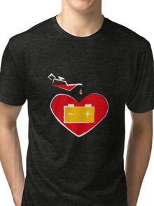 Battery love heart on black background Tri-blend T-Shirt