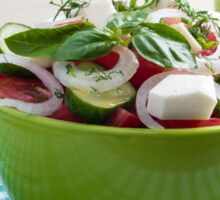 Green bowl with vegetable salad  on a green checkered tablecloth Sticker