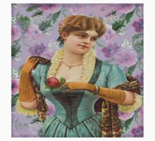 Vintage,cute girl,lady,on purple,floral,flowers,shabby chic,old fashioned Baby Tee
