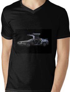 Back to the future Delorian car Mens V-Neck T-Shirt