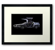 Back to the future Delorian car Framed Print