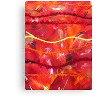 Orange Abstract Textile Art Canvas Print
