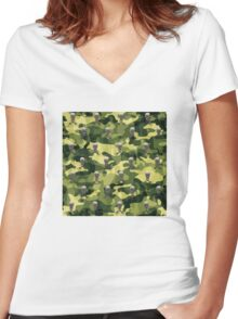 Military Camouflage Background Women's Fitted V-Neck T-Shirt