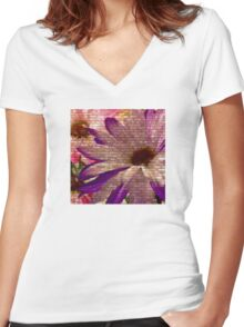 Urban Floral 1 Women's Fitted V-Neck T-Shirt