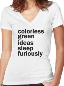 Colorless Green Ideas Sleep Furiously | White | Linguistics Women's Fitted V-Neck T-Shirt