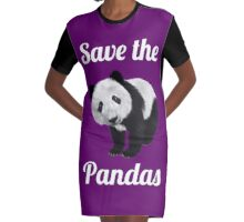 Save The PANDAS - Cute Panda  Graphic T-Shirt Dress