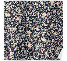 Navy Garden - floral doodle pattern in cream, dark red & blue Poster