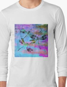 Mauritius Vintage Dragonflies Colours B Long Sleeve T-Shirt