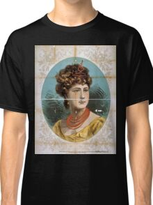 Performing Arts Posters Bust view of woman wearing treble clef headpiece yellow dress and red necklace 1823 Classic T-Shirt