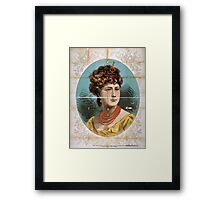 Performing Arts Posters Bust view of woman wearing treble clef headpiece yellow dress and red necklace 1823 Framed Print