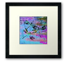 Mauritius Vintage Dragonflies Colours B Framed Print