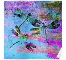 Mauritius Vintage Dragonflies Colours B Poster