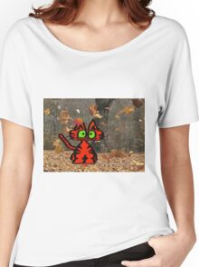 Cat Plays On A Fall Day Women's Relaxed Fit T-Shirt