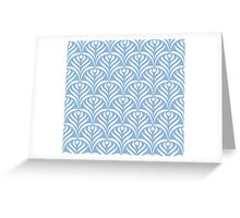 Art deco,scale pattern,powder blue,white,floral,vintage,1920 era,chic,elegant,trendy,modern,girly Greeting Card