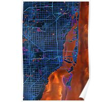 Dark map of Miami Metropolitan area Poster