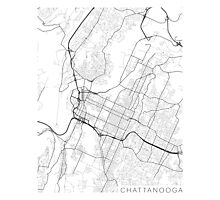 Chattanooga Map, USA - Black and White Photographic Print