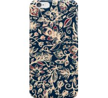 Navy Garden - floral doodle pattern in cream, dark red & blue iPhone Case/Skin