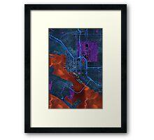 Dark map of San Diego city center Framed Print