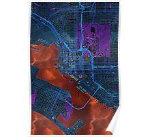 Dark map of San Diego city center Poster