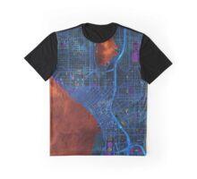 Dark map of Seattle city center Graphic T-Shirt