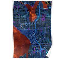 Dark map of Seattle city center Poster