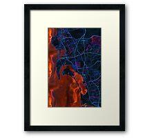 Dark map of San Diego metropolitan area Framed Print