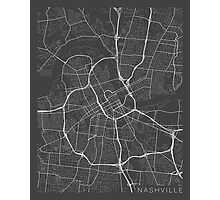 Nashville Map, USA - Gray Photographic Print