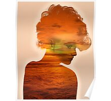 Woman immersed in the sunset.  Poster