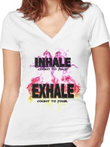 Inhale Exhale (Black text) Women's Fitted V-Neck T-Shirt