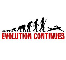 Funny Swimming Evolution Silhouette Photographic Print
