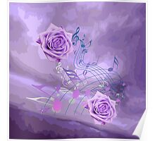 Purple & Pink Music Notes & Roses Poster