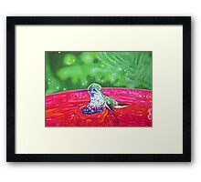 Hummingbird Bath in Sharpie Framed Print