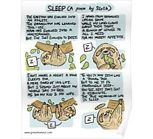 Sleep- a poem by Sloth Poster