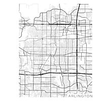 Arlington Map, USA - Black and White Photographic Print