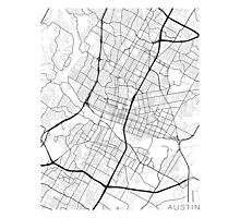 Austin Map, USA - Black and White Photographic Print