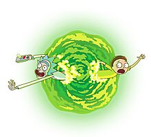 Rick and Morty Portal Jumping Photographic Print