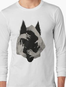 Wolf Wrapped in Hands Long Sleeve T-Shirt