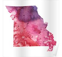 Watercolor Map of Missouri, USA in Orange, Red and Purple - Giclee Print of my Own Painting Poster