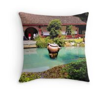 Tea Garden, Photo / Digital Painting Throw Pillow