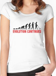 Funny Metal Detecting Evolution Continues Women's Fitted Scoop T-Shirt